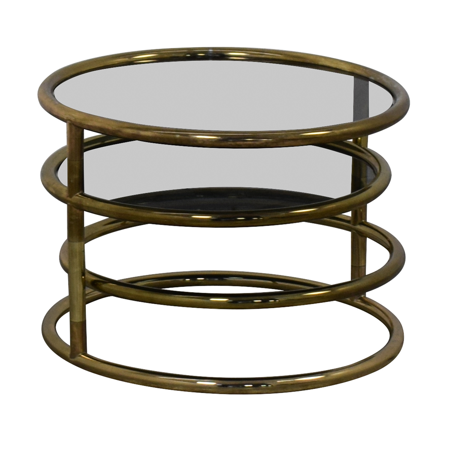 buy Mid-Century Three-Tier Brass Plated Swing Cocktail Table  Accent Tables