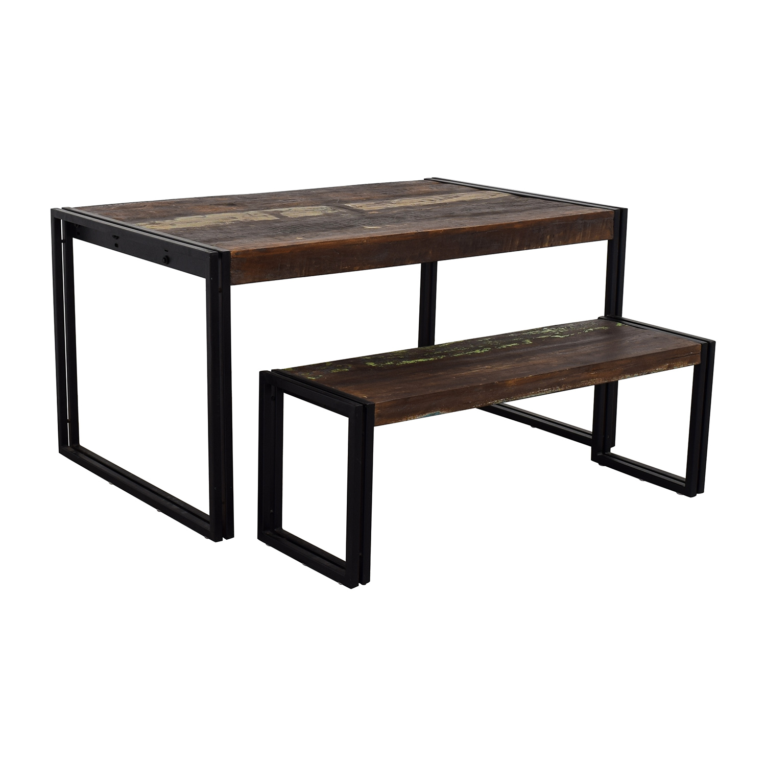 Timbergirl Timbergirl Solid Reclaimed Wood Dining Table With Bench used