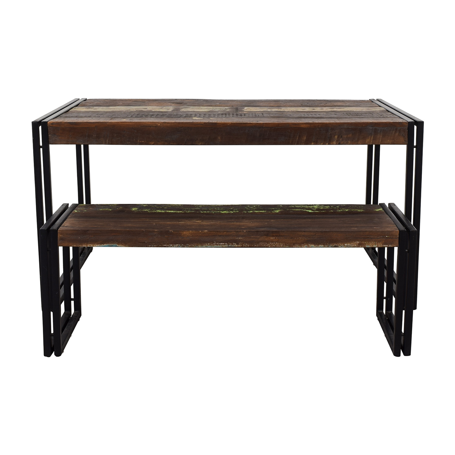 Timbergirl Solid Reclaimed Wood Dining Table With Bench / Tables