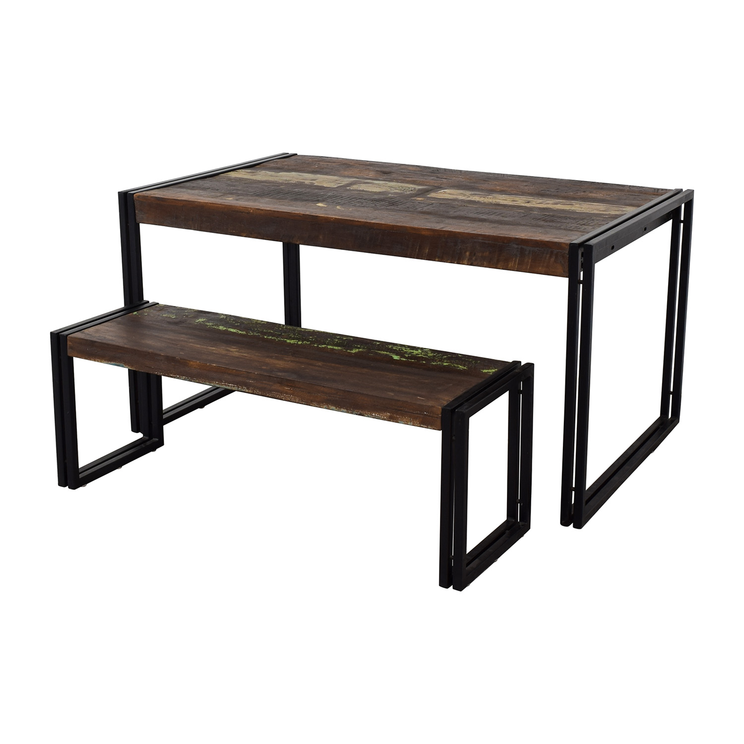 Timber Solid Reclaimed Wood Dining Table With Bench Online