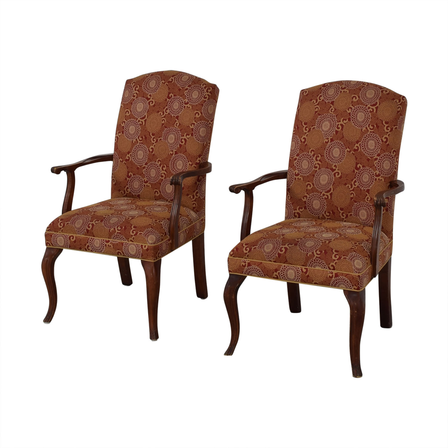 Ethan Allen Patterned Armchairs / Dining Chairs