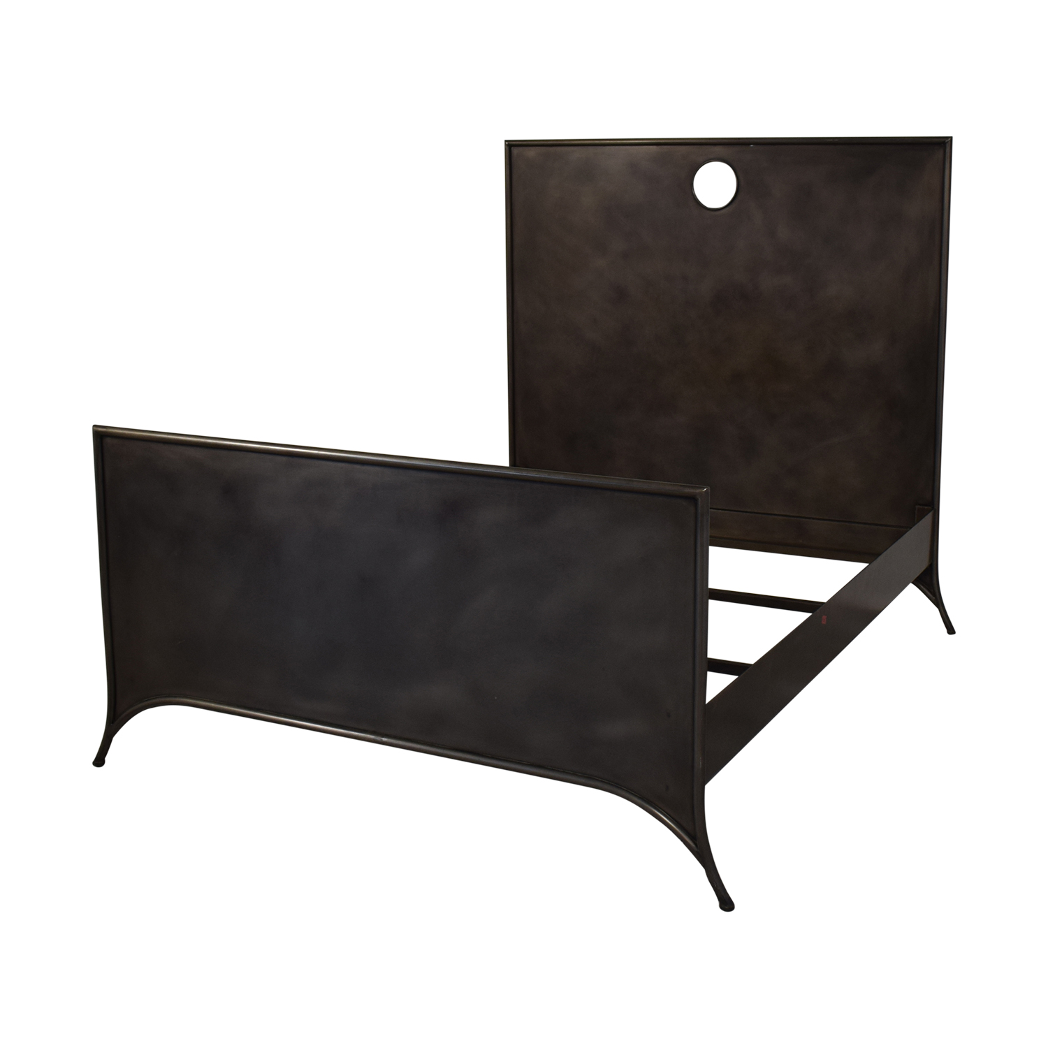 Restoration Hardware Queen 19th C. Keyhole Metal Square Bed with Footboard Restoration Hardware