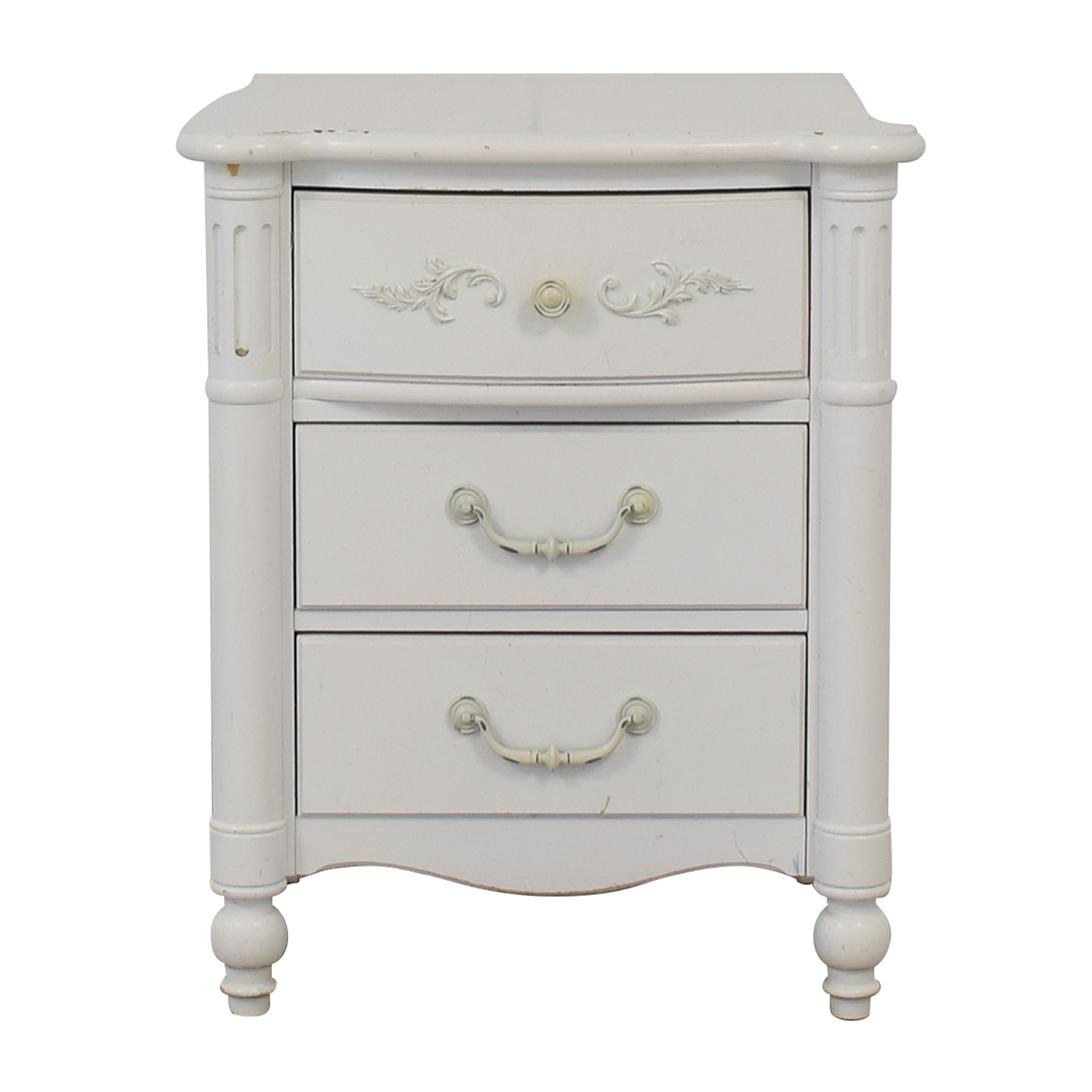 Stanley Furniture Young America White Three Drawer Nightstand Tables