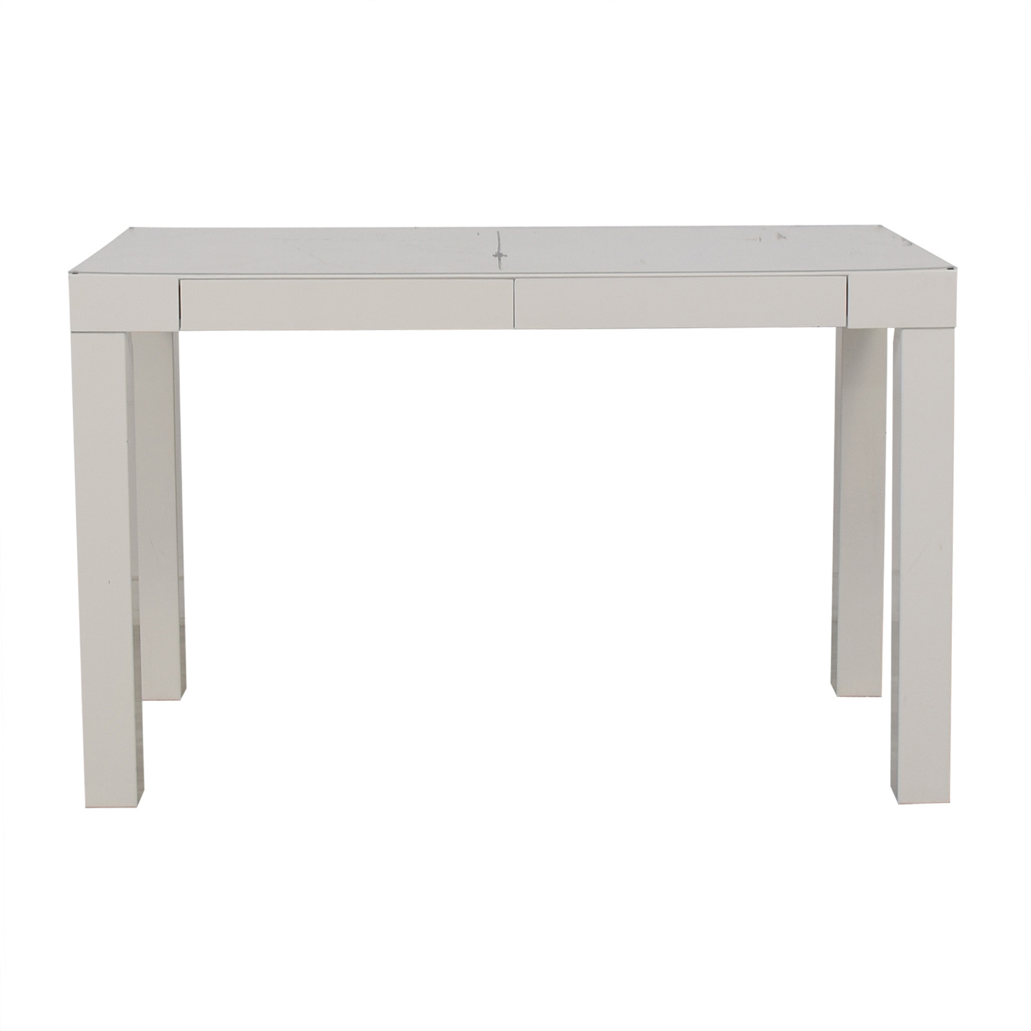 White Two-Drawer Parsons Style Desk
