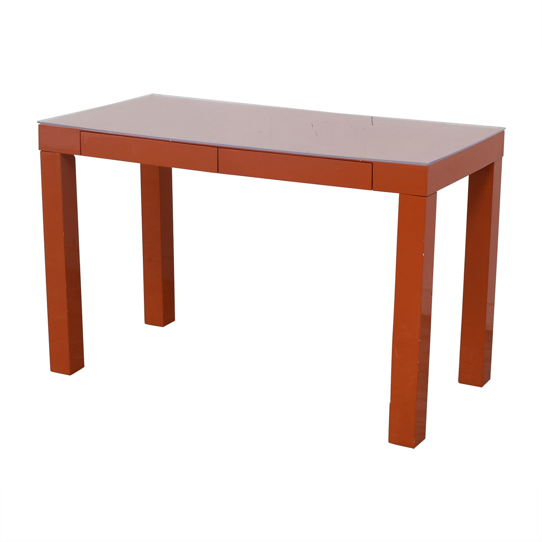 Two-Drawer Orange Parsons Style Desk orange