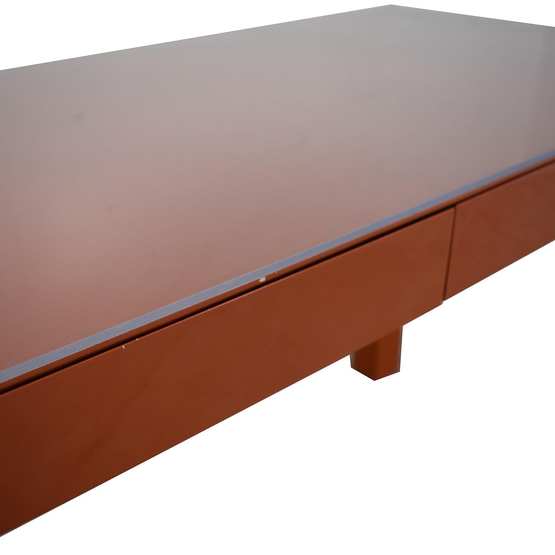 shop Two-Drawer Orange Parsons Style Desk