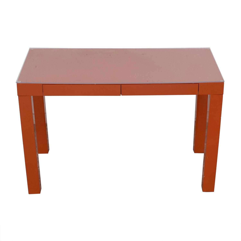 Two-Drawer Orange Parsons Style Desk on sale