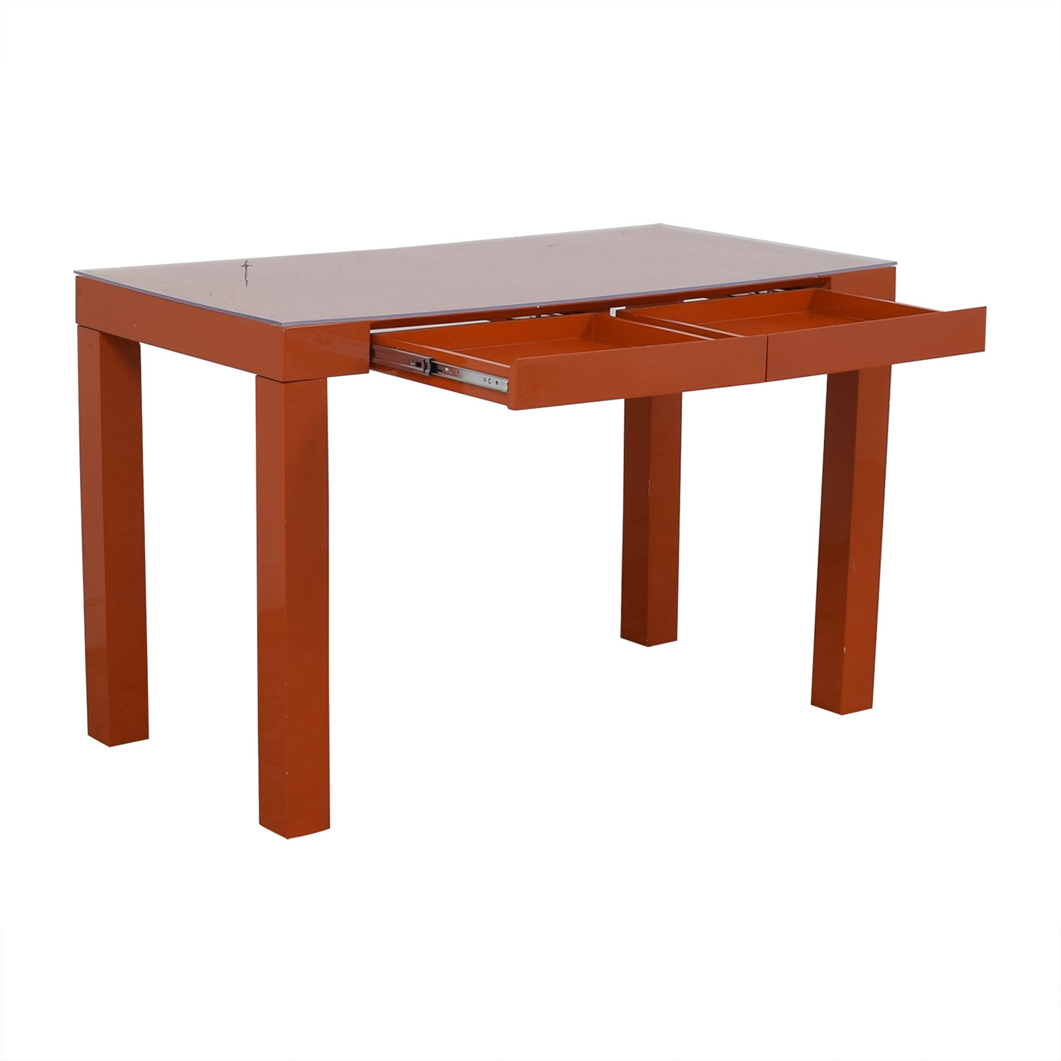 Two-Drawer Orange Parsons Style Desk dimensions