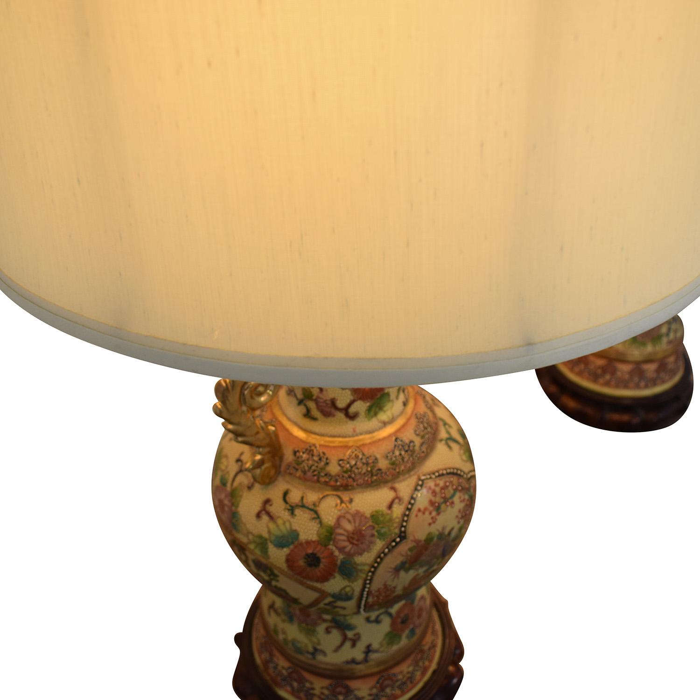 Vintage Celadon Oriental Table Lamps dimensions