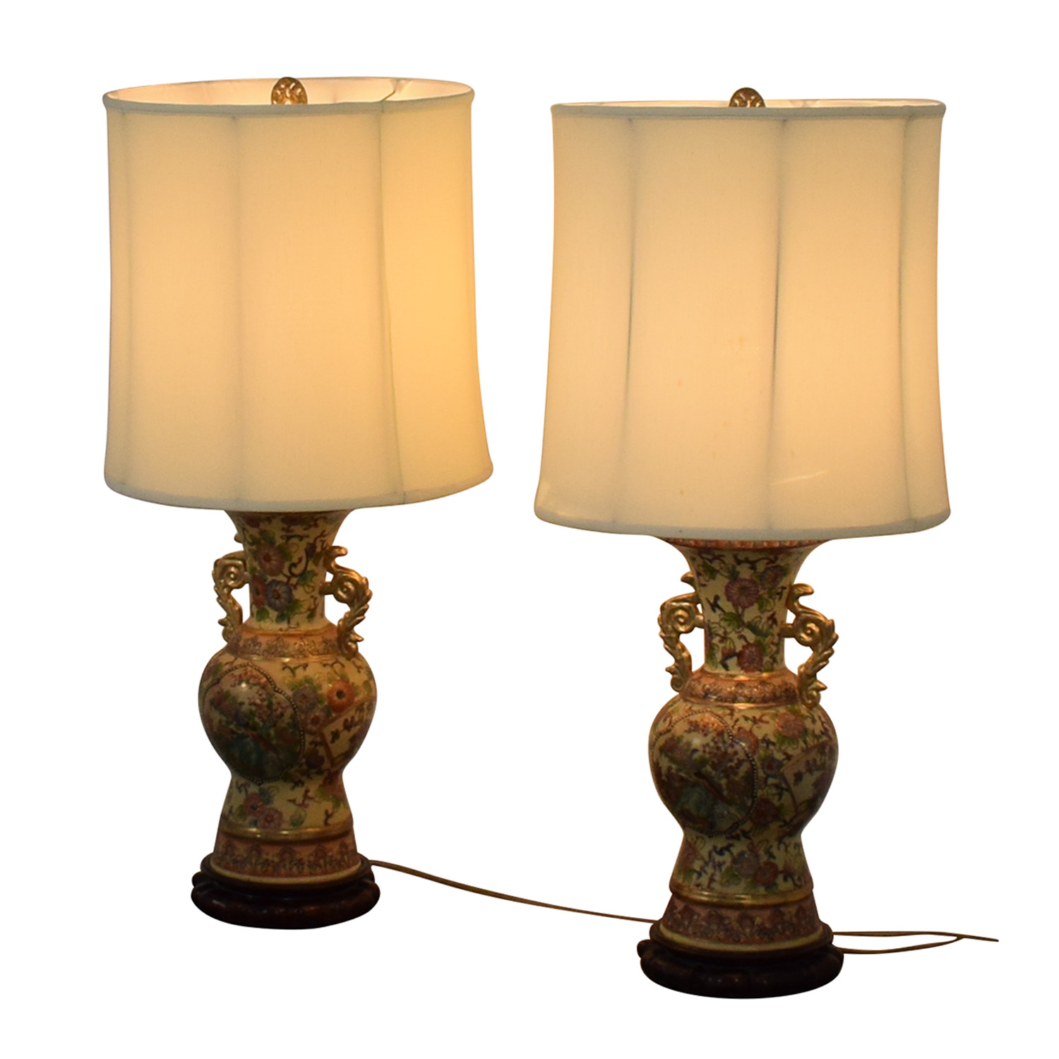Vintage Celadon Oriental Table Lamps Decor
