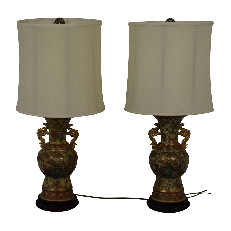 Vintage Celadon Oriental Table Lamps Multi-colored