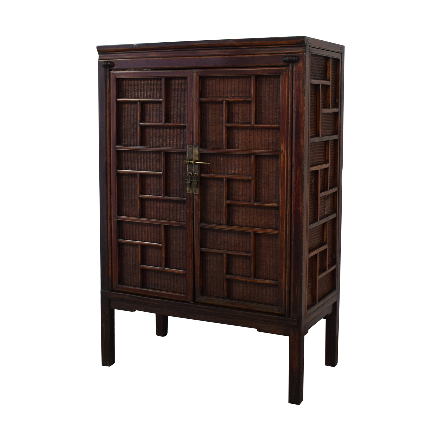 Rustic Chinese Storage Cabinet Brown