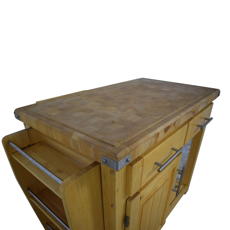 Modern Butcher Block Rolling Cart Light brown