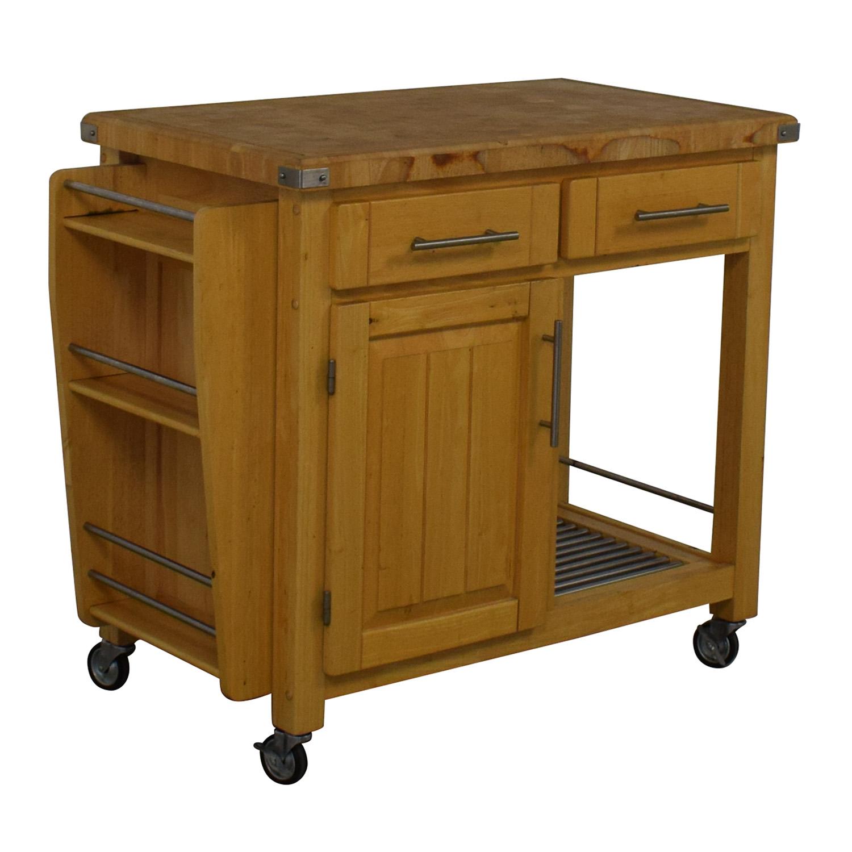 Modern Butcher Block Rolling Cart / Utility Tables