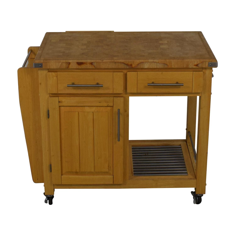 Modern Butcher Block Rolling Cart Utility Tables