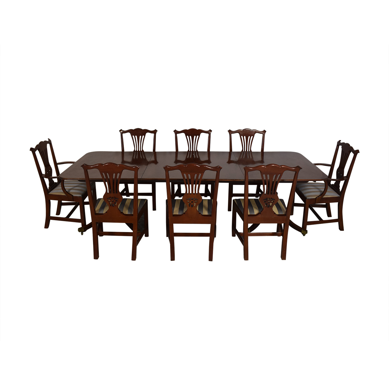 Baker Furniture Dining Room Table And Chairs Brown