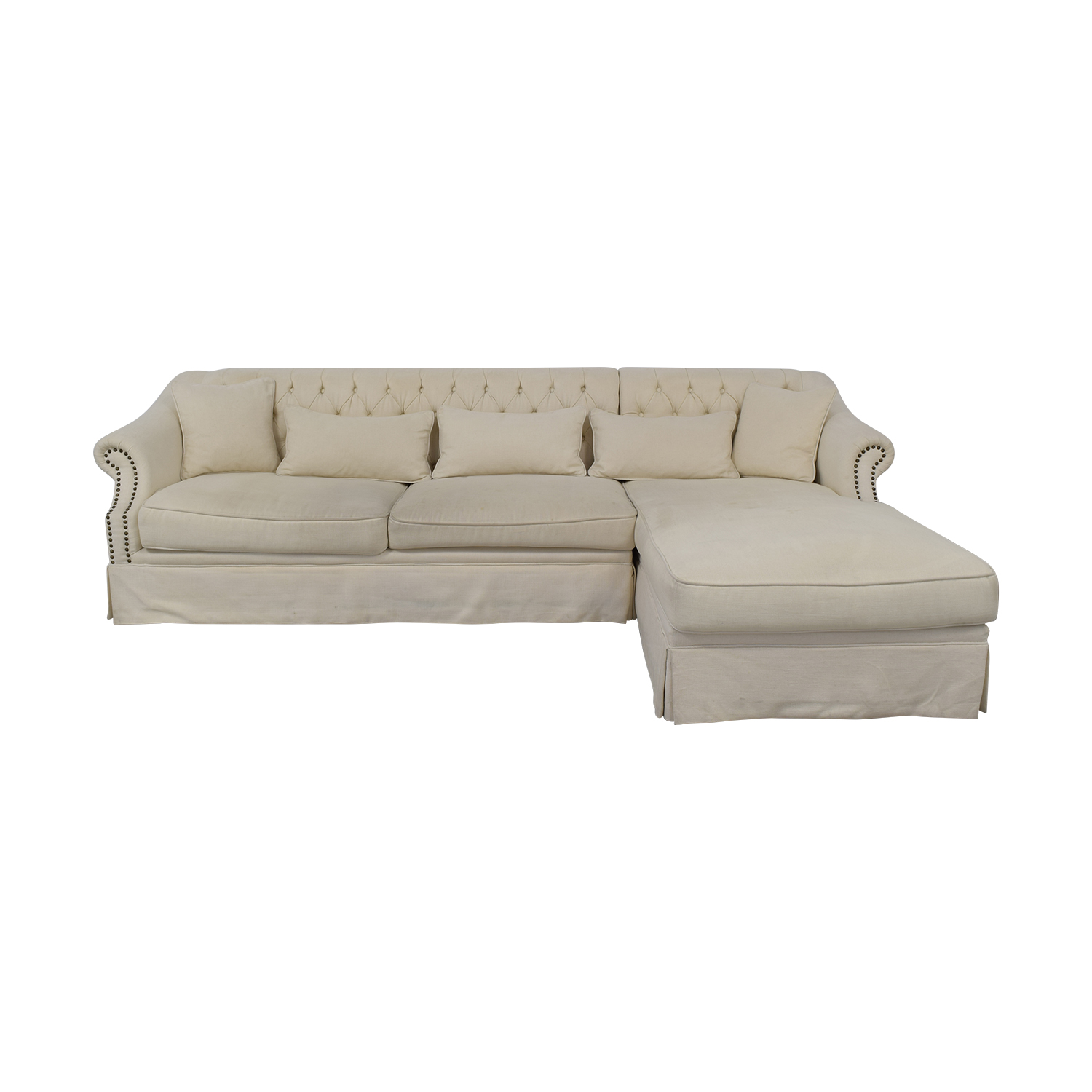 ABC Carpet & Home ABC Carpet & Home Chaise Sectional Sofa cream