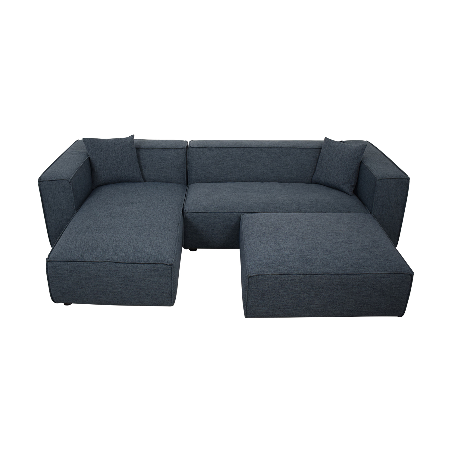 Modern Blue Sectional With Ottoman / Sofas