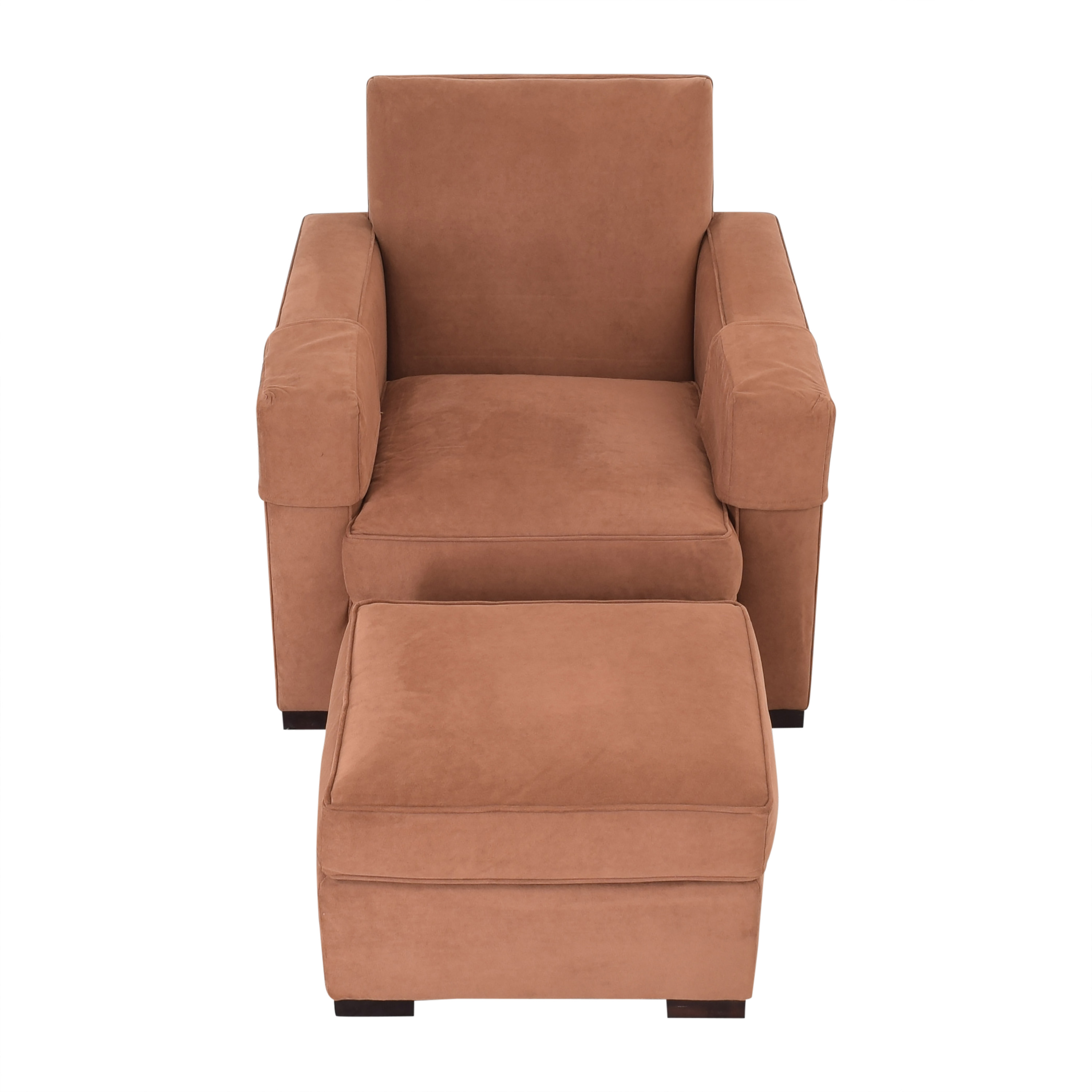 Hickory Chair Hickory Chair Ultra Suede Chair and Ottoman Peach