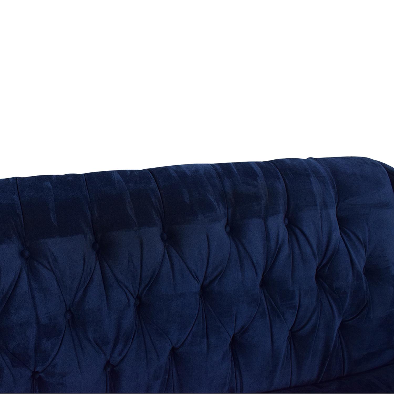 Braxton Culler Braxton Culler Blue Tufted Sofa discount