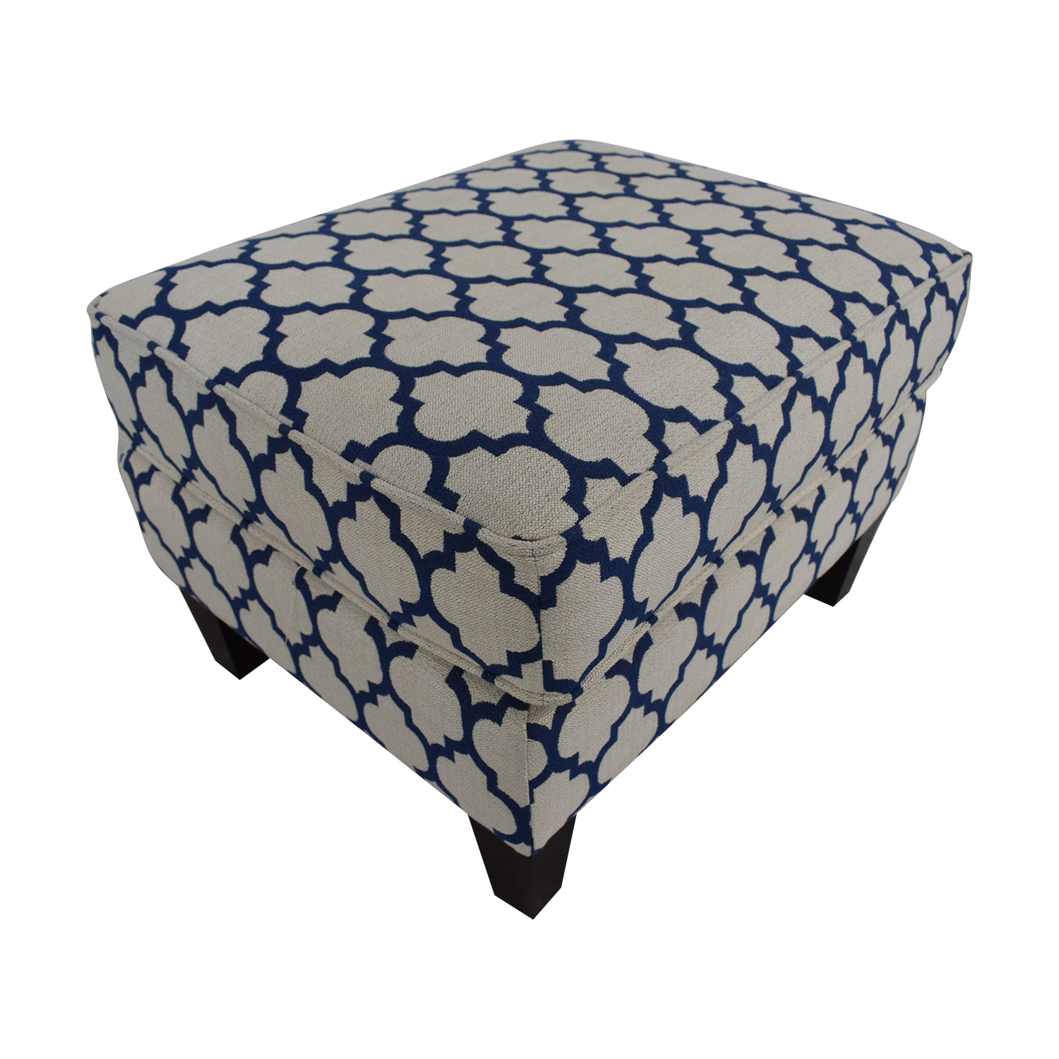 Braxton Culler Braxton Culler White & Blue Ottoman for sale
