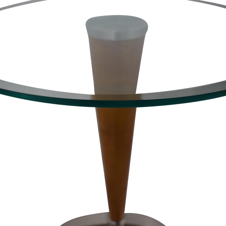 Ethan Allen Ethan Allen Glass Top Side Table brown