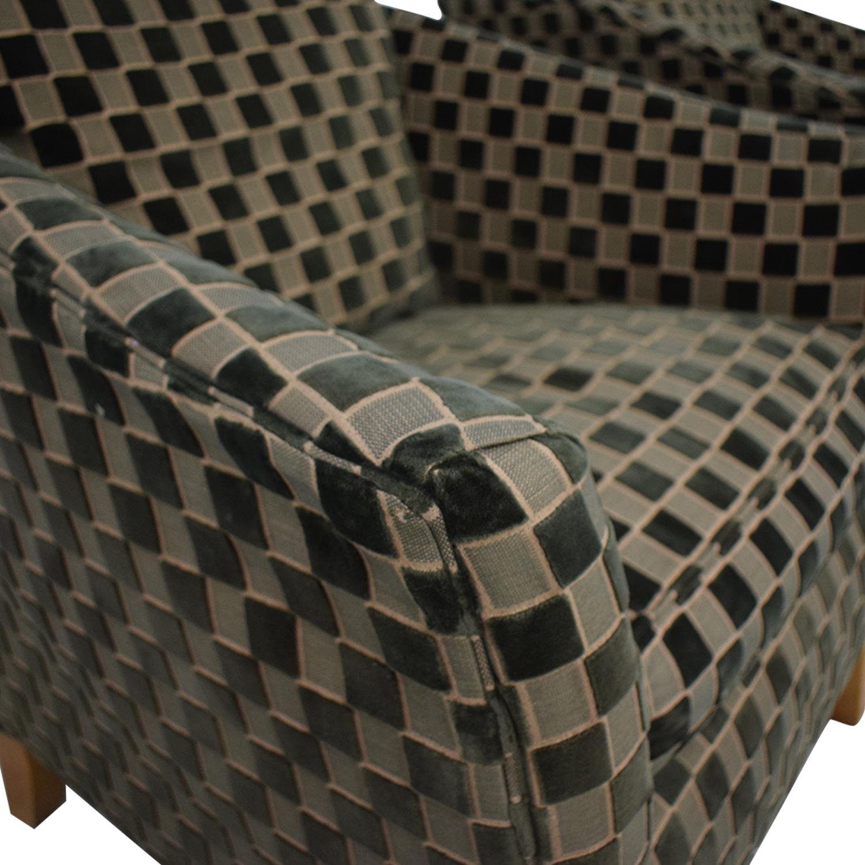 Ethan Allen Ethan Allen Checkered Accent Chairs dimensions