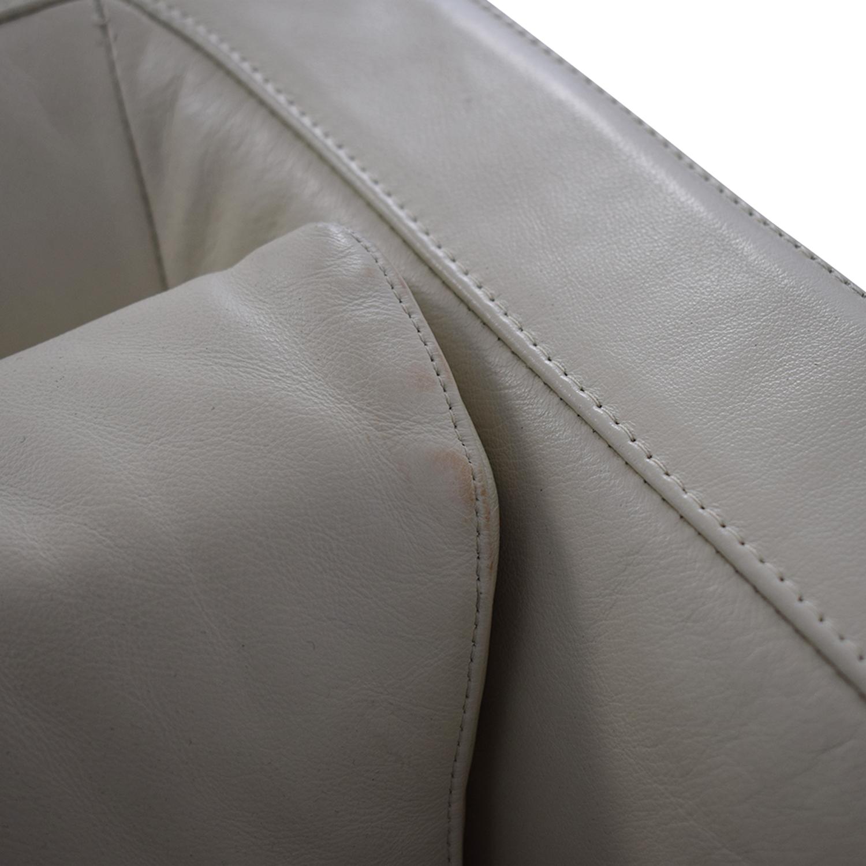buy Verzelloni Cream Leather Cubica Armchair Verzelloni Accent Chairs