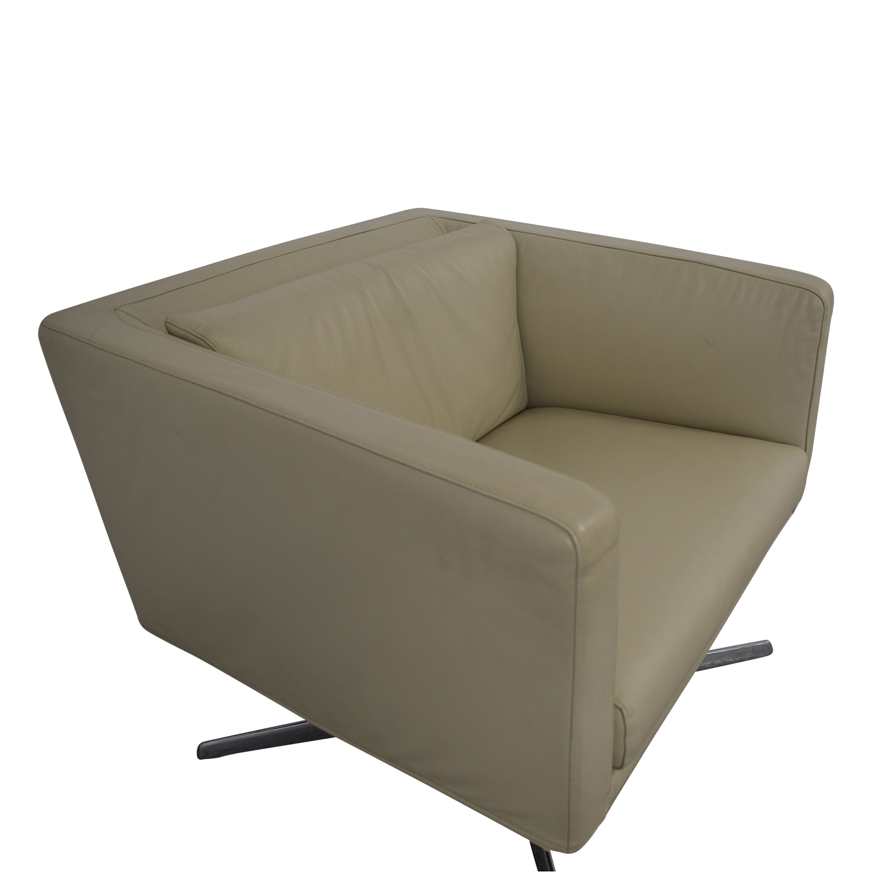 Verzelloni Verzelloni Cream Leather Cubica Armchair Accent Chairs