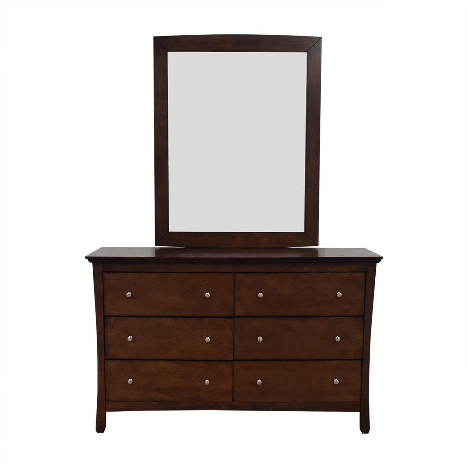 buy Dark Brown Chest of Six Drawers and Mirror