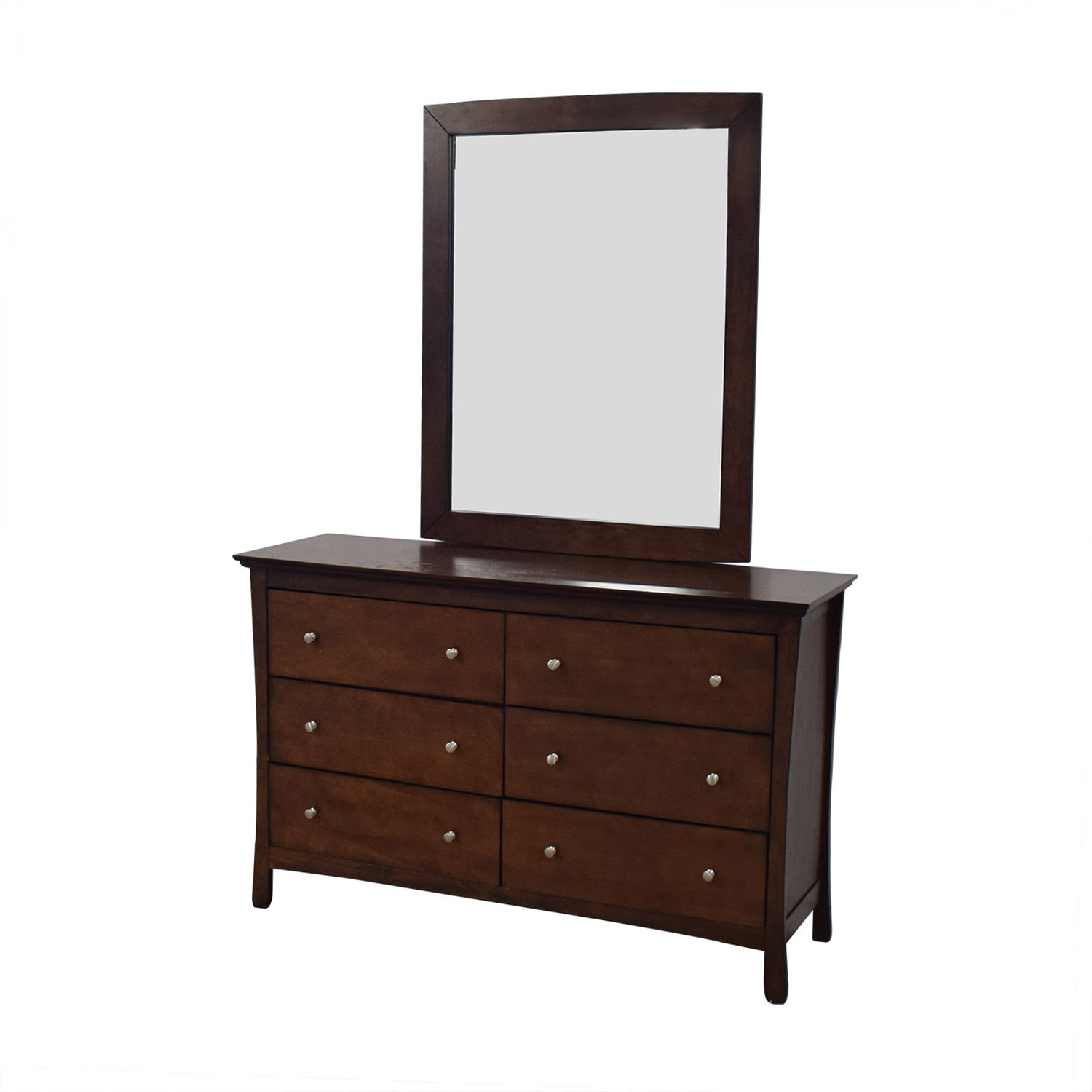 Dark Brown Chest of Six Drawers and Mirror sale