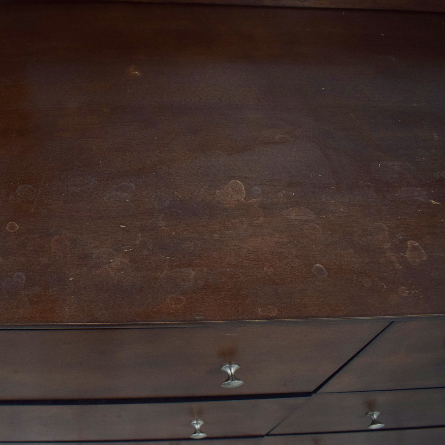 Dark Brown Chest of Six Drawers and Mirror nj