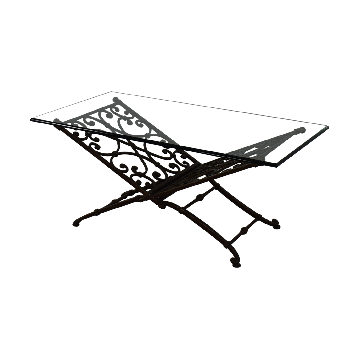 shop  Vintage Glass And Iron Coffee Table online