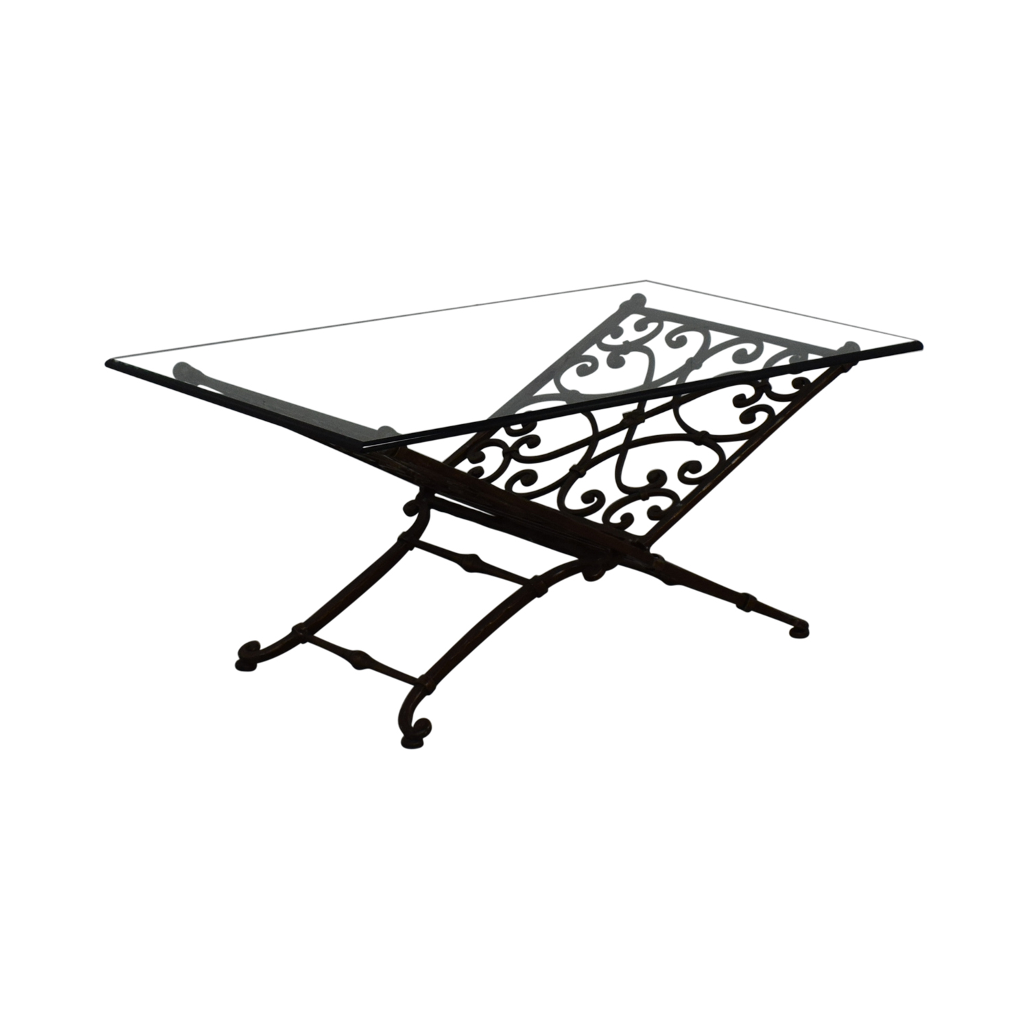 Vintage Glass And Iron Coffee Table discount