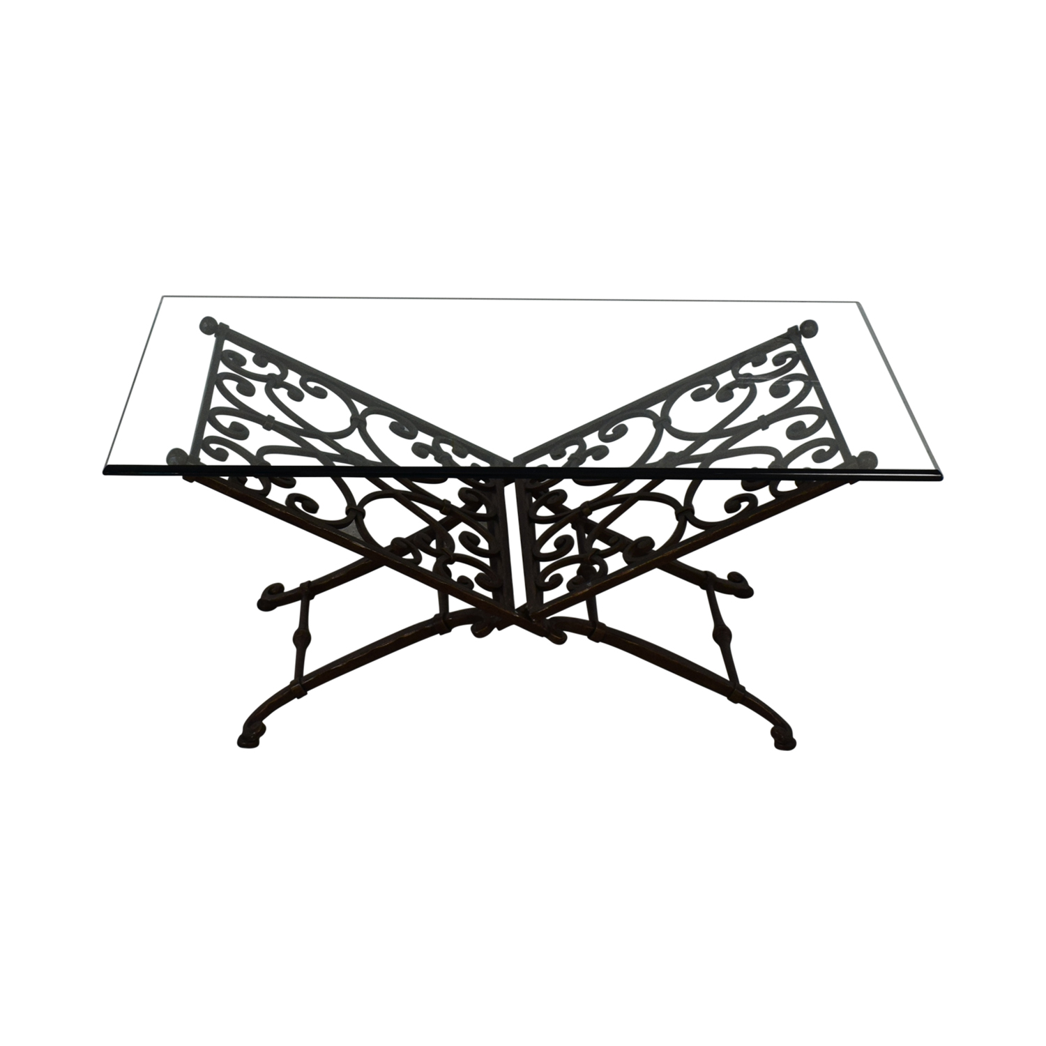 Vintage Glass And Iron Coffee Table price