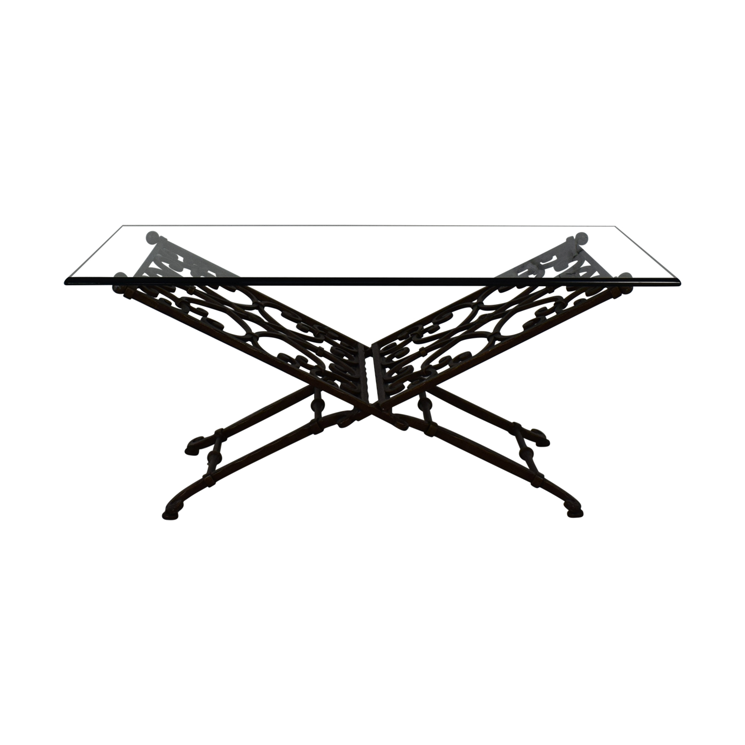 Vintage Glass And Iron Coffee Table / Coffee Tables