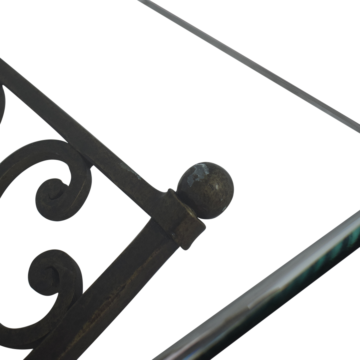 Vintage Glass And Iron Coffee Table