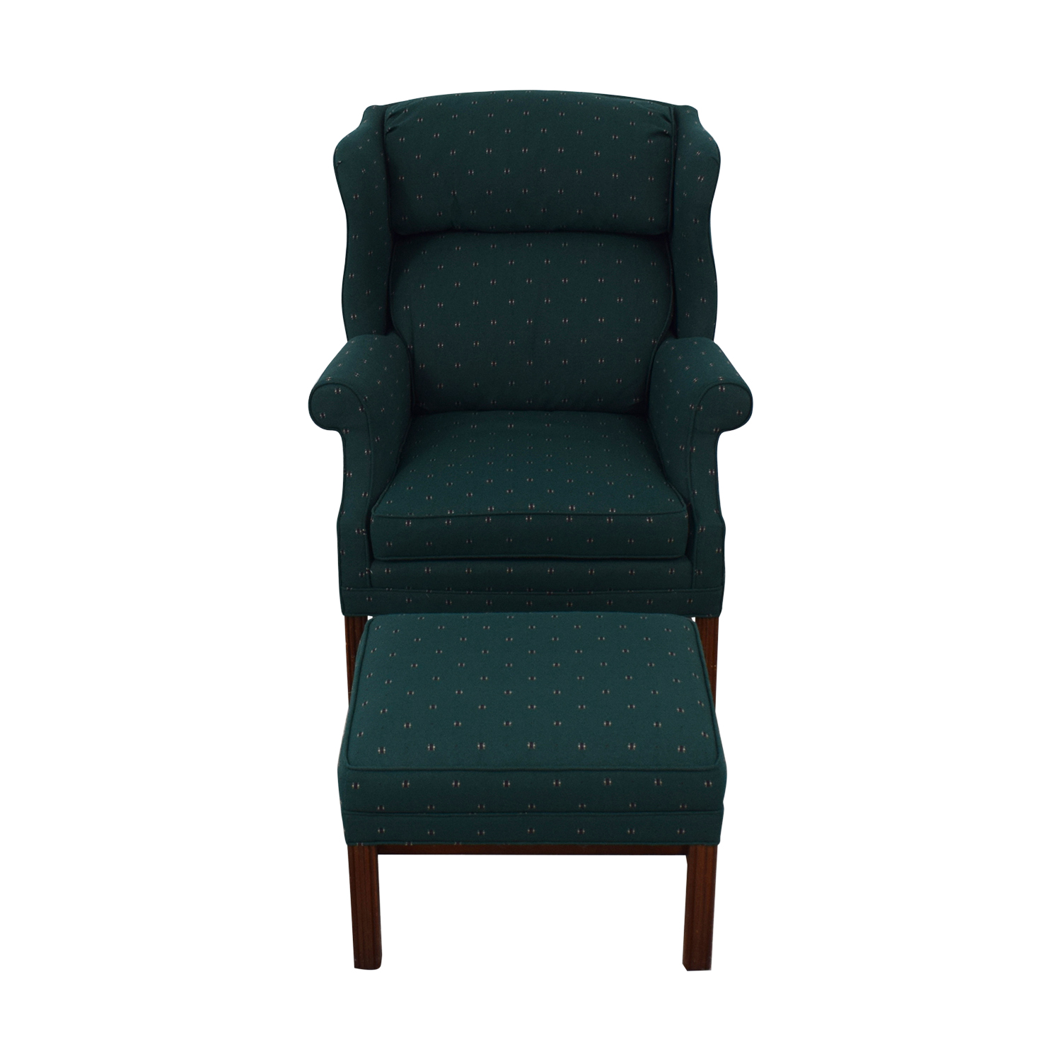 shop Conover Chair Company Green Wingback Accent Chair and Ottoman Conover Chair Company Accent Chairs