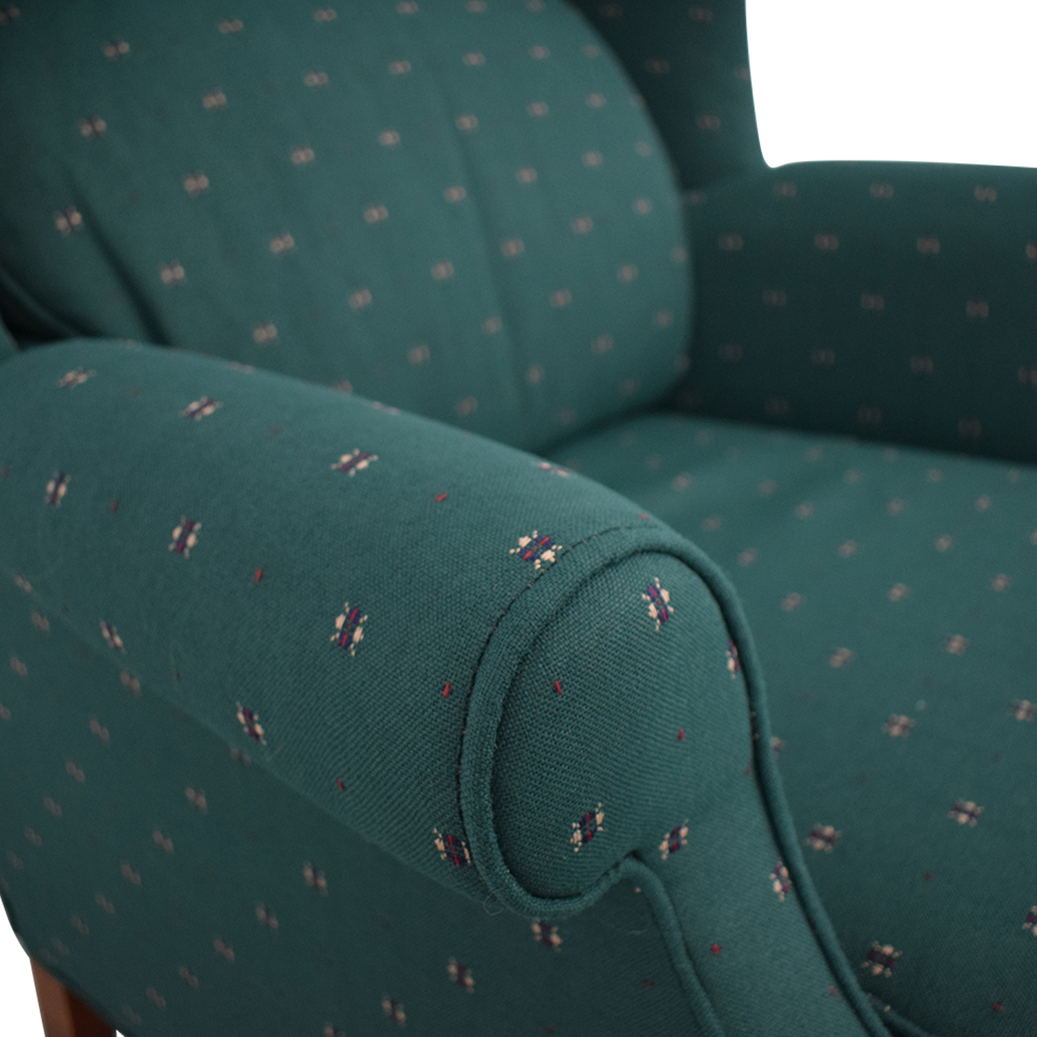Conover Chair Company Conover Chair Company Green Wingback Accent Chair and Ottoman nyc