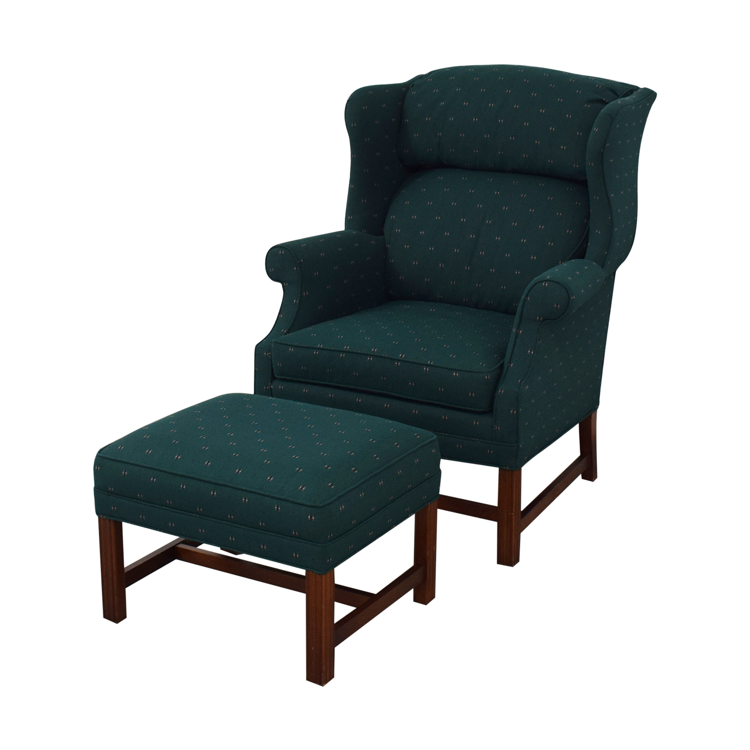 buy Conover Chair Company Green Wingback Accent Chair and Ottoman Conover Chair Company Accent Chairs