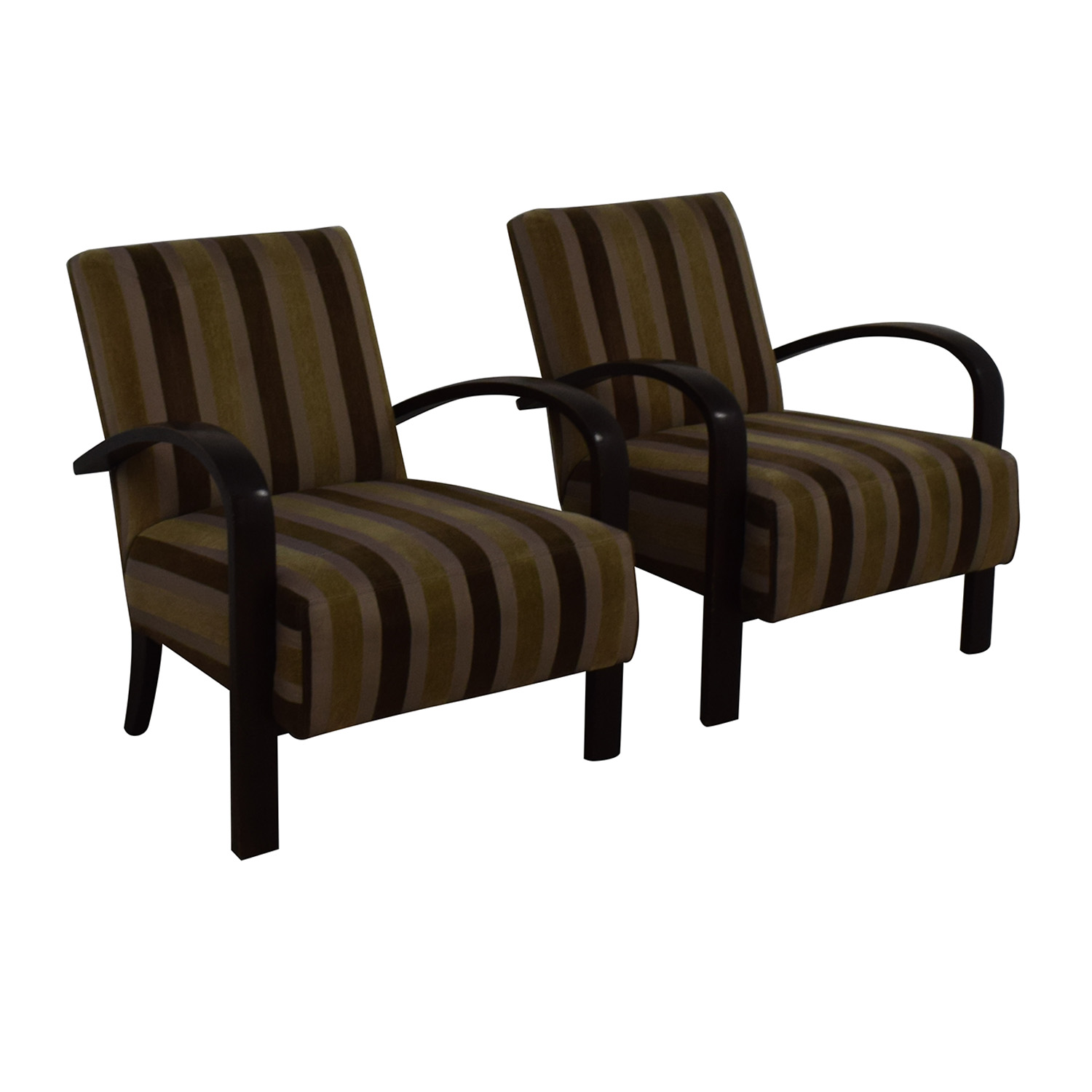 Brown Striped Accent Chairs discount
