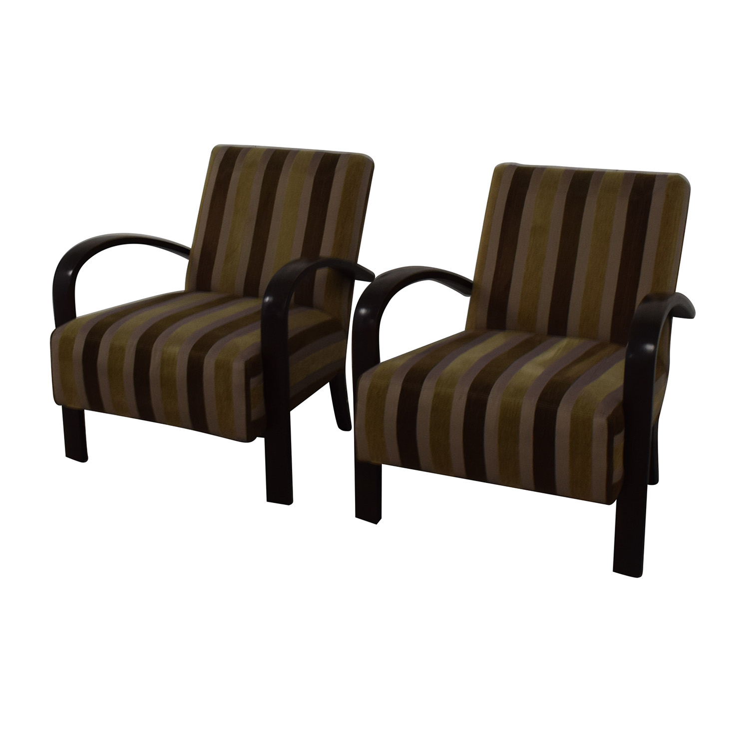 Brown Striped Accent Chairs second hand