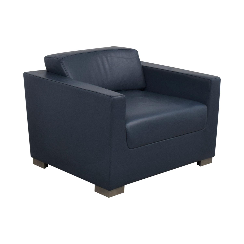 Bernhardt Design Blue Leather Arm Chair sale