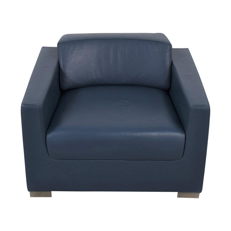 Bernhardt Bernhardt Design Blue Leather Arm Chair discount