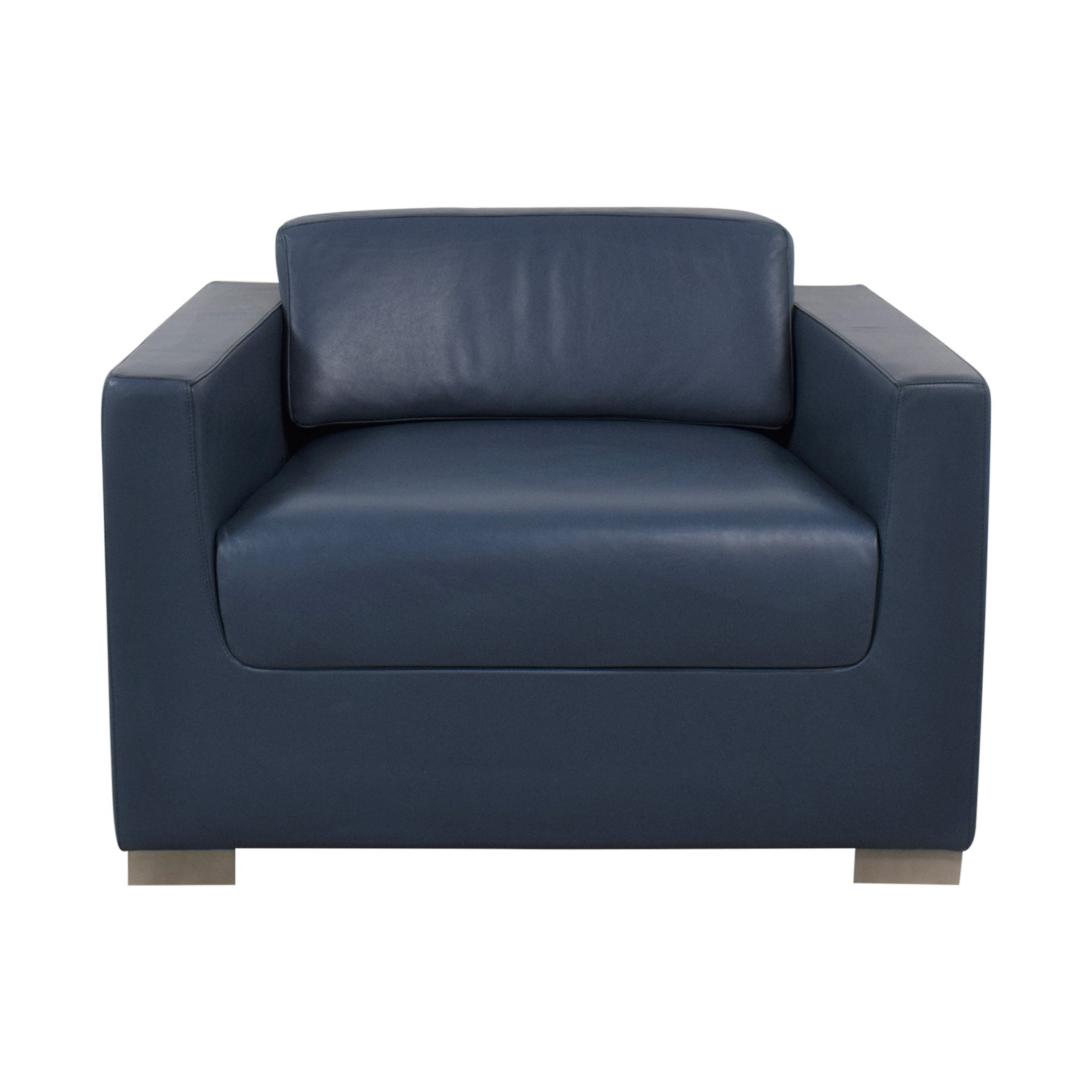 Bernhardt Bernhardt Design League Blue Leather Arm Chair nyc