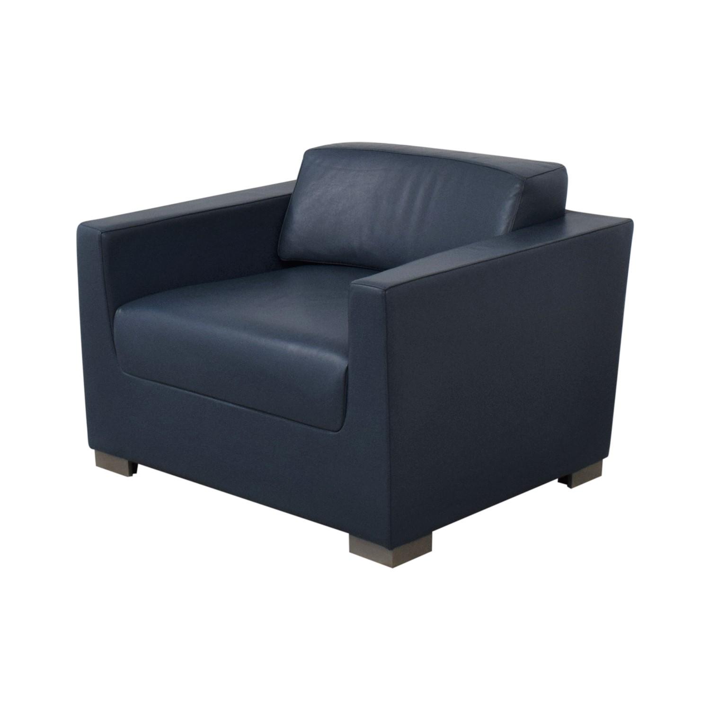Bernhardt Design Blue Leather Arm Chair Bernhardt