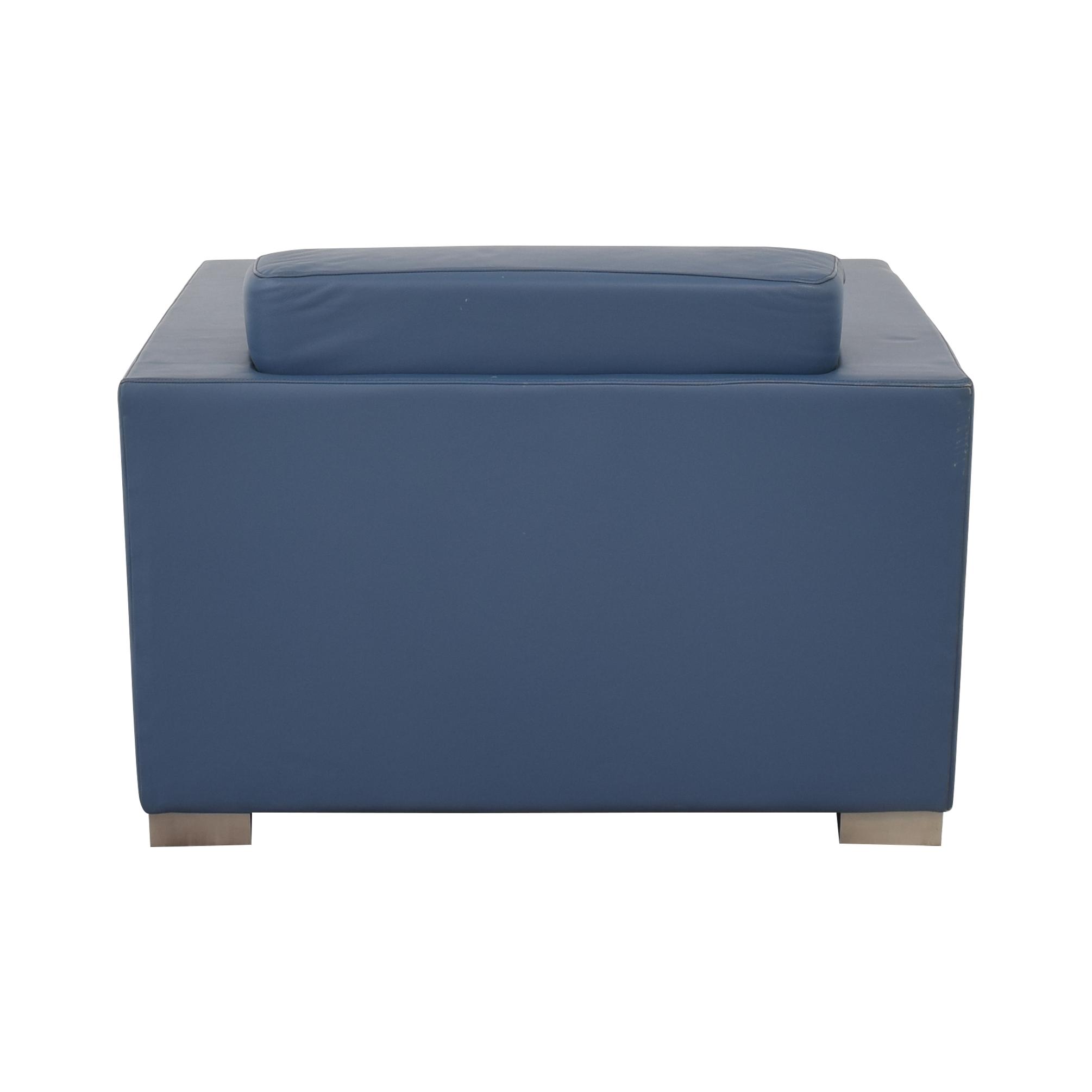 Bernhardt Bernhardt Design Blue Leather Arm Chair nyc