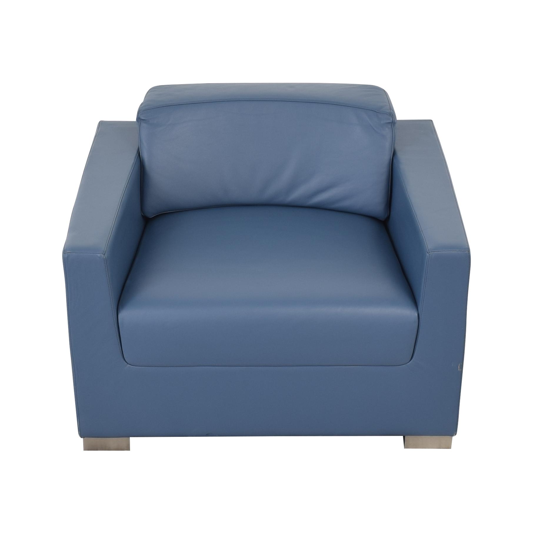 Bernhardt Bernhardt Design Blue Leather Arm Chair coupon