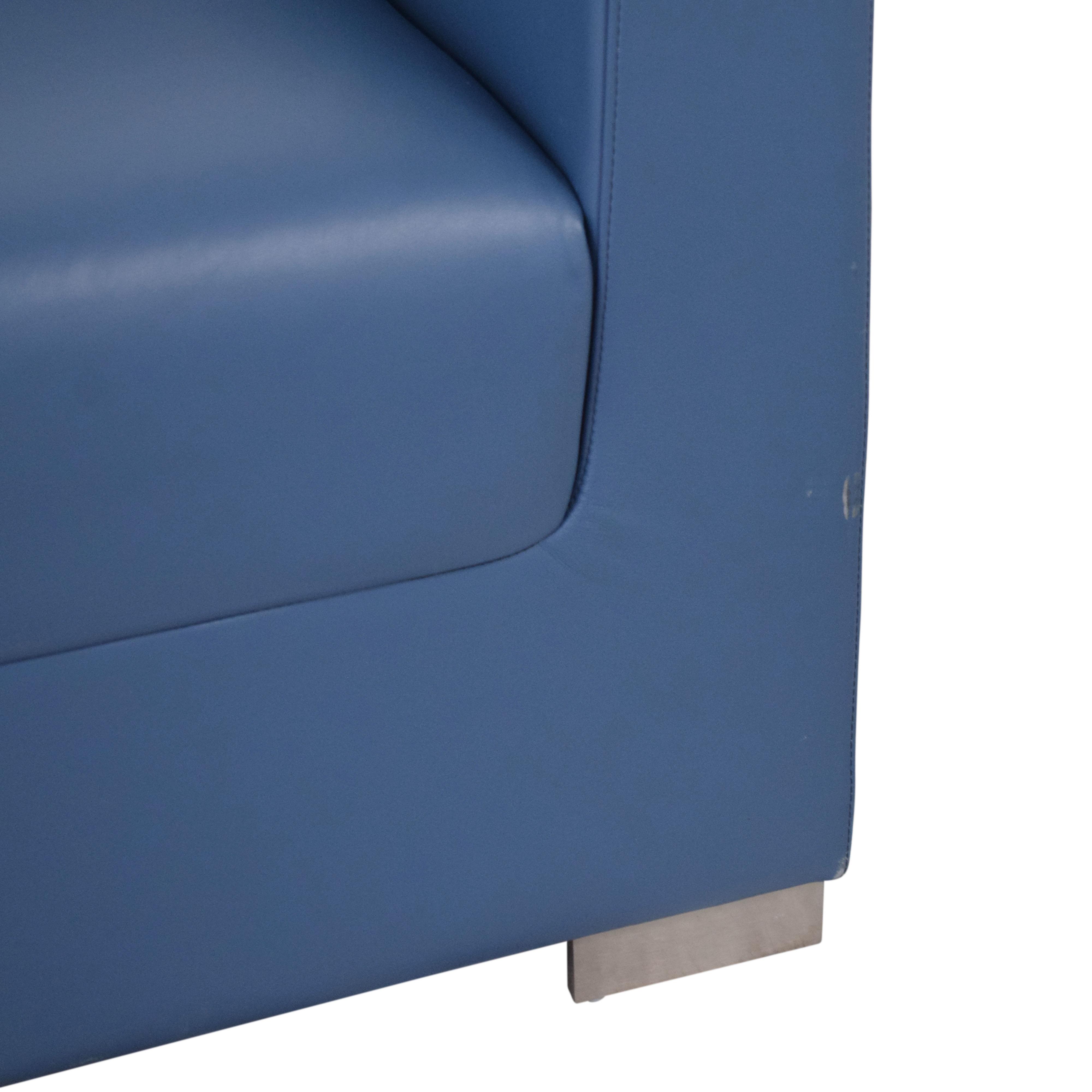 Bernhardt Bernhardt Design Blue Leather Arm Chair dimensions