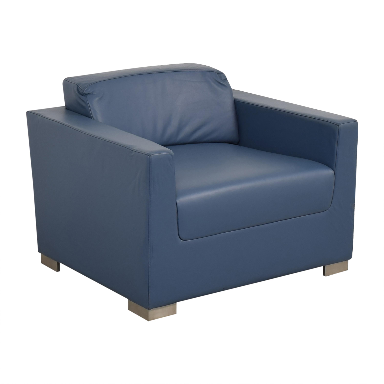 Bernhardt Design Blue Leather Arm Chair / Accent Chairs